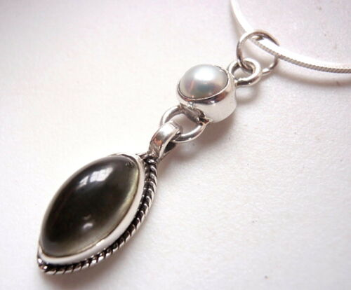 Pearl and Green Amethyst Marquise Cabochon 925 Sterling Silver Necklace New