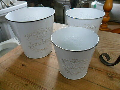 3 graduated enamel metal buckets pails home & garden planters flower shop urn sm