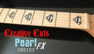 Superman Logo BLACK PEARL Fret Markers Inlays Decal for Maple Neck BASS & GUITAR