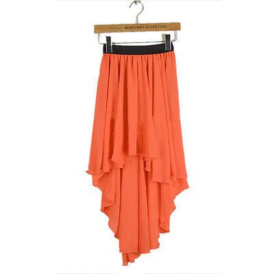 Sexy Asym Hem Chiffon Skirt High Low Asymmetrical Long Maxi Dress Elastic Waist