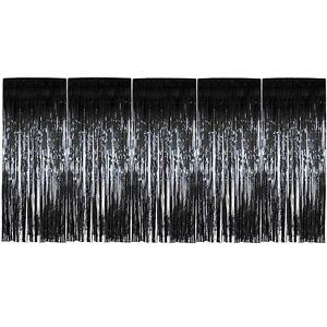 Image Is Loading Pack Of 5 Black Foil Door Shimmer Curtains