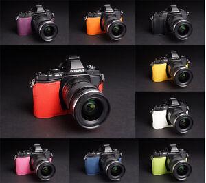 Handmade-Real-Half-Leather-Case-Camera-Case-for-Olympus-OM-D-E-M5-EM5-9-Colors