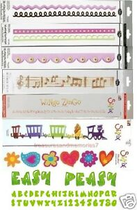 Sizzix Sizzlits Huge Lot of 8 Dies, 2 Alphabets, 6 Diff. Borders, Asst. Shapes