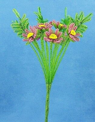 Vintage French Glass Beaded Purple Daisy Flower Bouquet