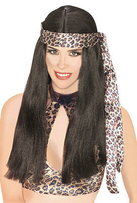 Cave Woman Wig Long Hippie Indian Halloween Adult Costume Accessory 2 COLORS
