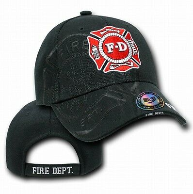 Black Fire Department Fireman Rescue Badge Shadow Law Baseball Cap Hat Caps Hats