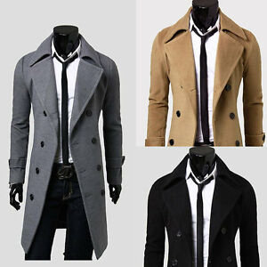 HOT Men's Wool Coat Winter Trench Coat Outear Overcoat Long Jacket ...
