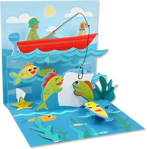 3D Catch Fish Fishing Pop Up Card Father's Day Gift ...