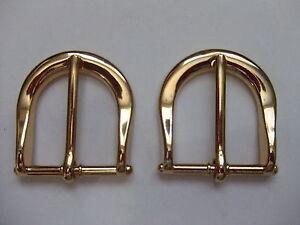 Lot-Of-2-Brass-End-bar-Harness-Buckles-for-1-1-8-034-Belt