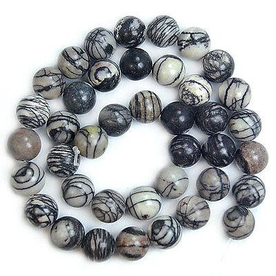 "Smooth Round Natural Spider Web Jasper Beads 15"" 4 6 8 10 12 14mm Pick Size"
