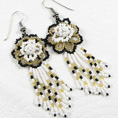 WHITE BLACK GOLD BEADS FLOWER BEADED EARRINGS HANDMADE BEAD JEWELRY E8/1