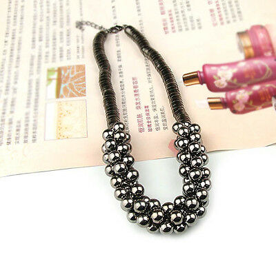 Hot Fashion Jewelry multilayer silver black beads Pendent chain Necklace