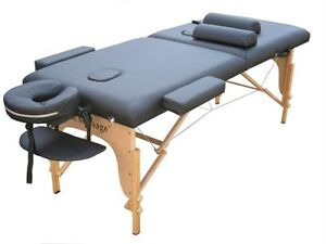 PROFESSIONAL-Portable-Massage-Table-Facial-bed-Spa-w-2-Bolsters-and-Carry-Black