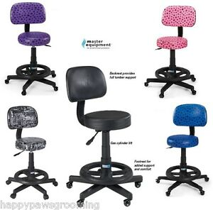Sweet Sit Stool Backrest Footrest Wheels Adjustable