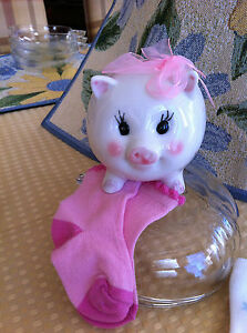 Pink Polka Dot Piggy Bank and pair of socks for new born