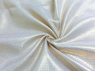 WHITE GOLD METALLIC DOT DIAMOND BROCADE FABRIC WEDDING SCARF AISLE TABLECLOTH