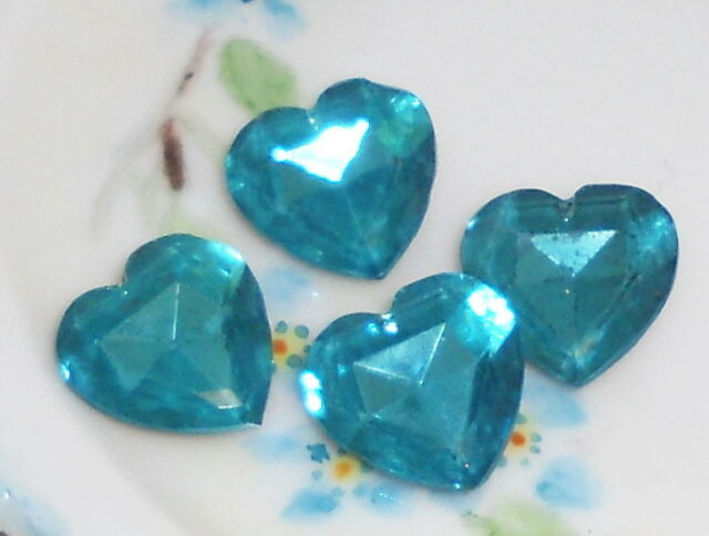 #681 Vintage Rhinestone Heart Hearts Blue Foil Back Stone Cabochons Rhinestones