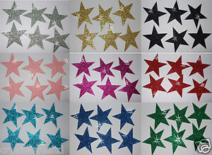 FABRIC-GLITTER-2inch-50mm-STARS-IRON-ON-HOTFIX-T-SHIRT-TRANSFER-PATCH-applique