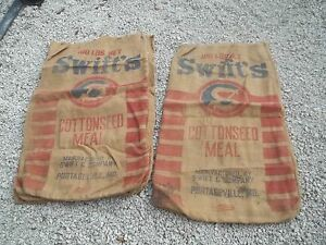 Vintage Swift's Cottonseed Meal Portagaville MO Feed burlap sack