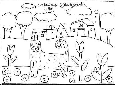 RUG HOOKING CRAFT PAPER PATTERN Cat Landscape FOLK ART PRIMITIVE Karla Gerard