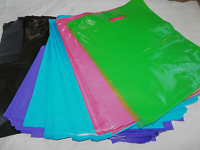 "100pcs 12x15"" (5)Asst ~Black Pink Blue Purple Green Merchandise Bags w/handles"