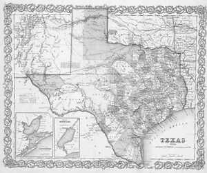 1856 TEXAS MAP TX Cedar Creek Lake Hill Red Rock Park Loeb Channelview Adkins XL
