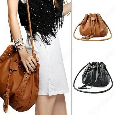 Pu Leather Bucket Crossbody Messenger Shoulder Bag Tassels Handbag Purse Hobo