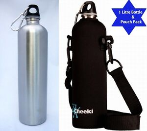 1000-ml-1-Litre-Brushed-Stainless-Steel-Water-Bottle-amp-Cheeki-Insulated-Pouch