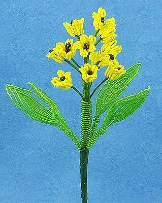 Vintage French Glass Beaded Yellow Hyacinth Flower Stem