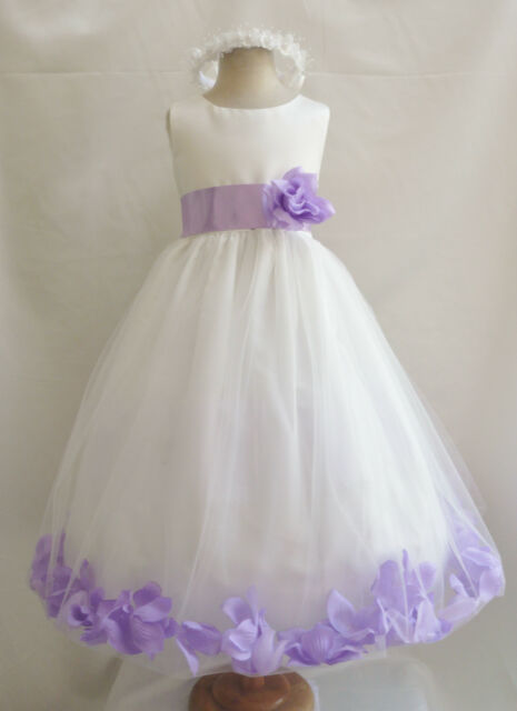 IVORY LILAC PURPLE BLACK ORANGE YELLOW BLUE PAGEANT WEDDING FLOWER GIRL DRESS