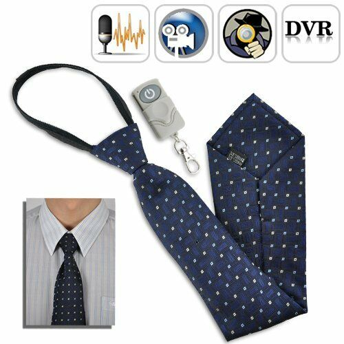 SPY TIE CAMERA WITH BUILT IN DVR WIRELESS REMOTE CONTROL AUDIO VIDEO RECORDER