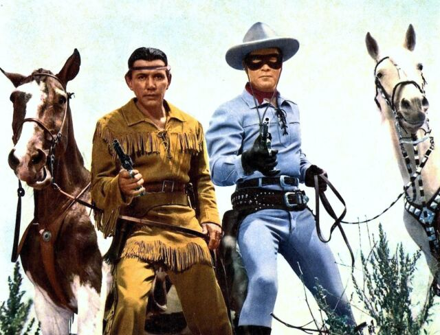 RARE! LONE RANGER & TONTO ORIGINAL TV COLOR GLOSSY 8X10 PHOTO - LOOK!