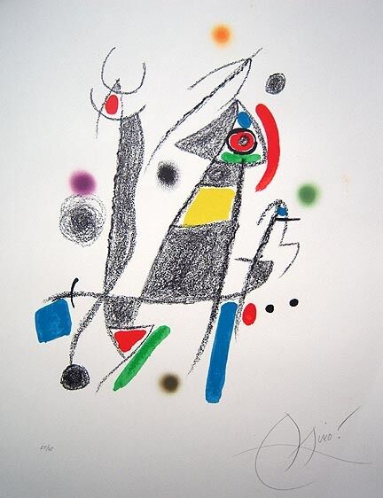JOAN MIRO Hand Signed 1975 Original Color Lithograph