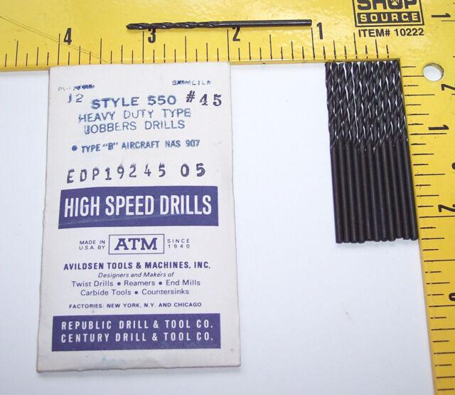 nEw USA 12 Pc. #45 / .082 drills Drill bits machinist aviation aircraft tools