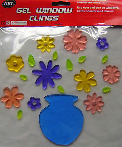 NEW-DECORATIVE-FLOWERS-VASE-GEL-WINDOW-CLINGS-STICKS-TO-BATHS-SHOWERS-MIRRORS