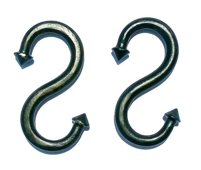 """2 Pcs. HAND FORGED S HOOKS 2.55"""" Wrought Iron Country kitchen pot hanger Rack"""