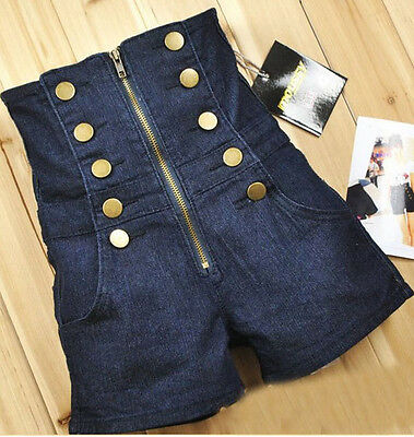 Double Breasted Zipper Vintage High Waist Womens jean shorts Pants Size S M L