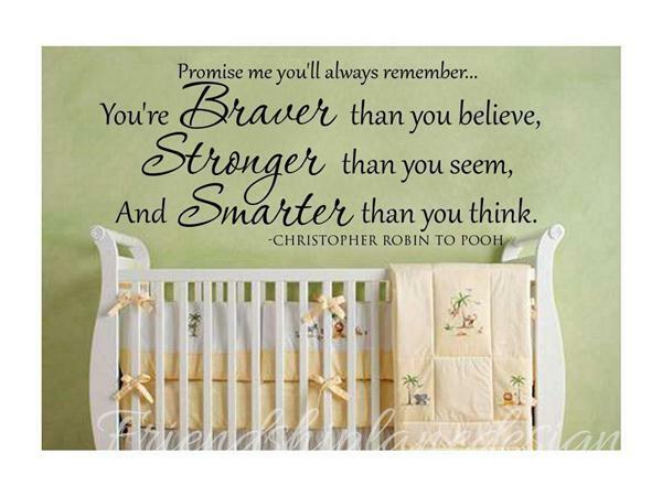 Vinyl Wall Decal/quote/words/baby/sticker Christopher Robin to Winnie the Pooh