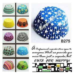 100-BLUE-STARS-BIRTHDAY-PARTY-paper-baking-cups-cupcake-liners-muffin-cases-B275