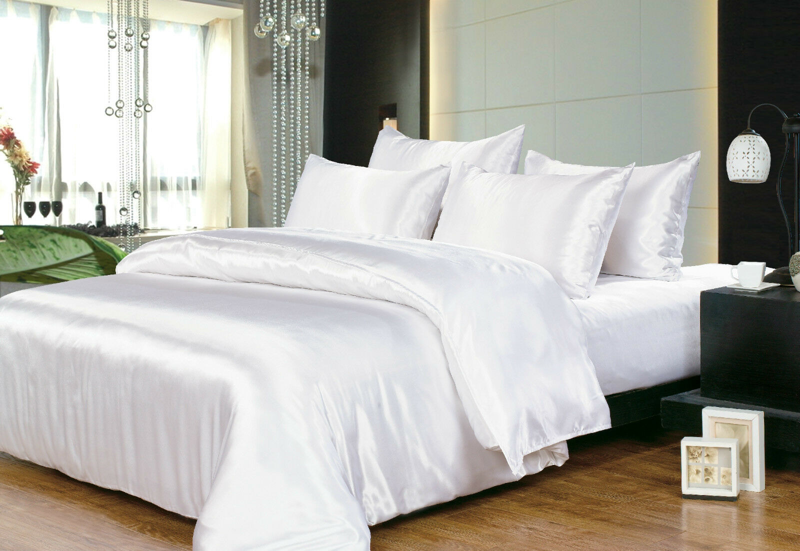 Hotel Quality Silk/Satin King Size Bed Sheet Set  White COLOUR NEW