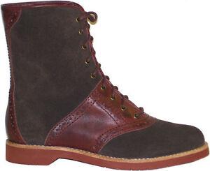 Bass-Women-039-s-Nikki-Brown-Leather-Hiking-Classic-Saddle-Boots-SIZES-NIB-NEW