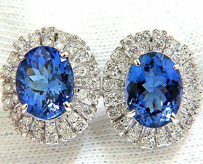 █$11,000 7.85CT NATURAL TANZANITE DIAMONDS CLUSTER CLIP EARRINGS 14KT █