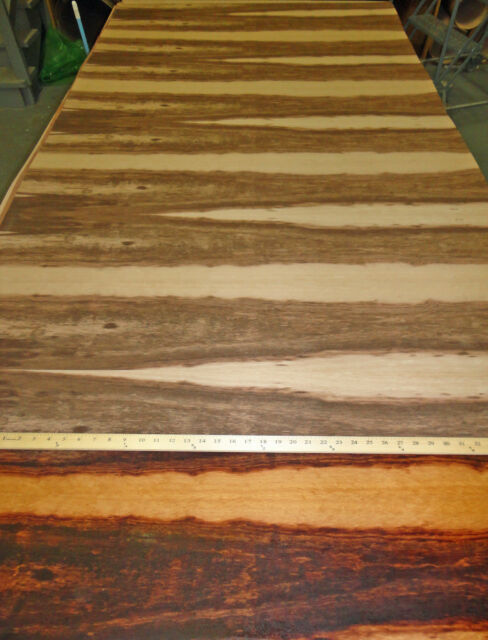 "Goncalo Alves (Tigerwood) wood veneer 96"" x 48"" with paper backer (8' x 4')"