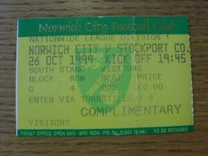26101999 Ticket Norwich City v Stockport County Folded Item In very good c - <span itemprop=availableAtOrFrom>Birmingham, United Kingdom</span> - Returns accepted within 30 days after the item is delivered, if goods not as described. Buyer assumes responibilty for return proof of postage and costs. Most purchases from business s - Birmingham, United Kingdom
