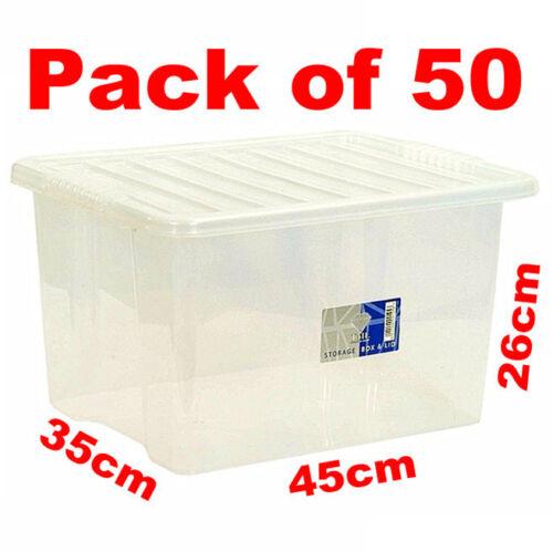 30 L 30 L grande taille en plastique clair Boîtes de Rangement Set conteneur couvercle valeur 130