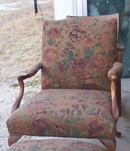 Carved-Mahogany-Armchair-with-brown-flower-print-chenille-AC25