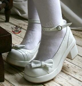 SALE-IN-STOCK-Sweet-Granny-Vintage-Lolita-Mary-Jane-Ankle-Strap-White-23-6-5