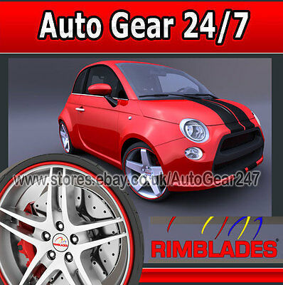 Car Van 4x4 Alloy Wheel Red Rim Blades Edge Lip Protectors Enhancer Strip Kit