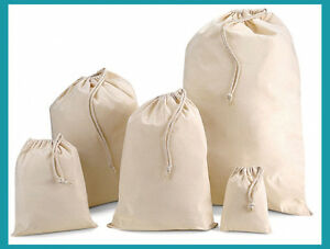 Seconds* Plain 100% Natural Cotton Calico, Drawstring Xmas, Sack Bag