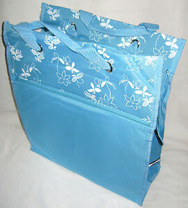 NEW-BICYCLE-PANNIER-SHOPPER-BAG-FIXES-ONTO-BIKE-LIGHT-BLUE-WHITE-FLORAL-PATTERN